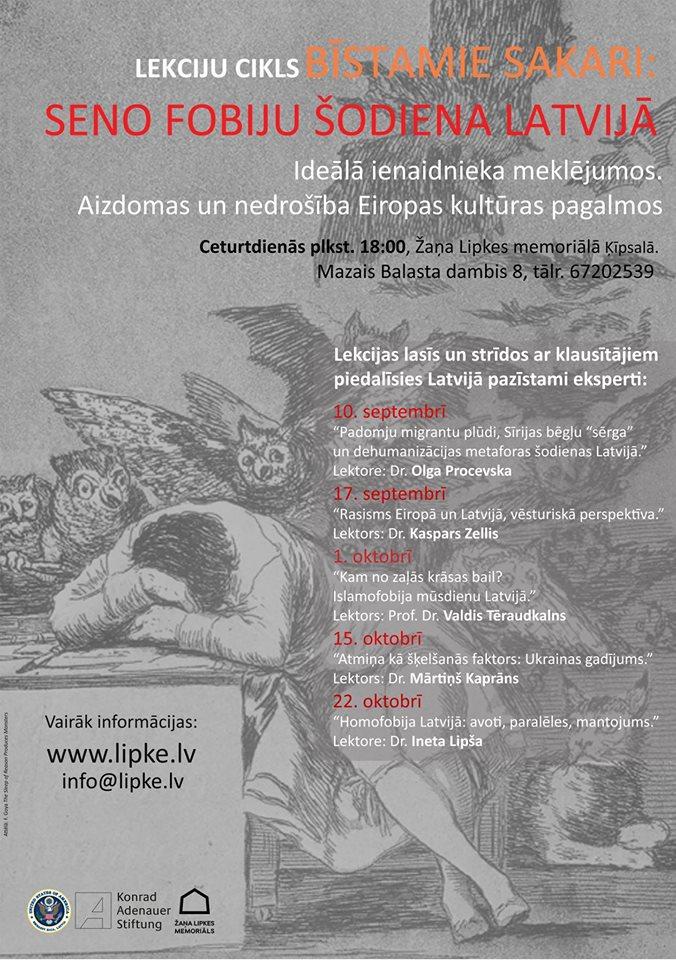 """Lekciju cikls """"Bīstamie sakari: Seno fobiju šodiena Latvijā"""" no 2015. gada 10. septembra līdz 22. oktobrim Žaņa Lipkes memoriālā."""